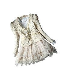 DFXIU Kids Girl Outfit Jacket Tutu Top Dress Flower Pearl 2pcs Pink Skirt