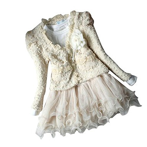 DFXIU 2pcs Kids Baby Girls Cardigan Clothes White Dress Outfit 1-2 Years Old
