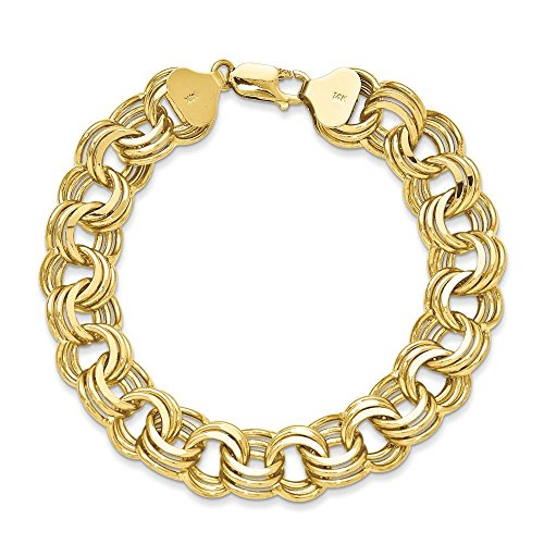Or 14ct Triple Lien Charme Bracelet Fermoir-Boîte-23cm
