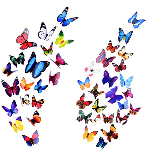 Heansun Butterfly Wall Decals, 3D Butterfly Wall Sticker for Room Home Nursery Decor (43 PCS)
