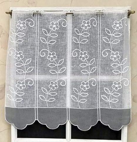 14931.57GR NOTE IMPORTANTE vous recevrez un rideau de seulement 15 cm. Rideau Brise bise Etamine Blanc et Gris brod/é env.57 cm R/éf Si vous nachetez quun seul article 1 unit/é = 15 cm de largeur
