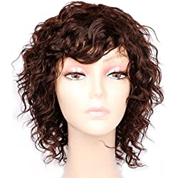 Goldfinch Short Curly Brown Wig with Bangs Curly Human Hair Wigs for Women 150% Density + Free Wig Cap (8 inches)