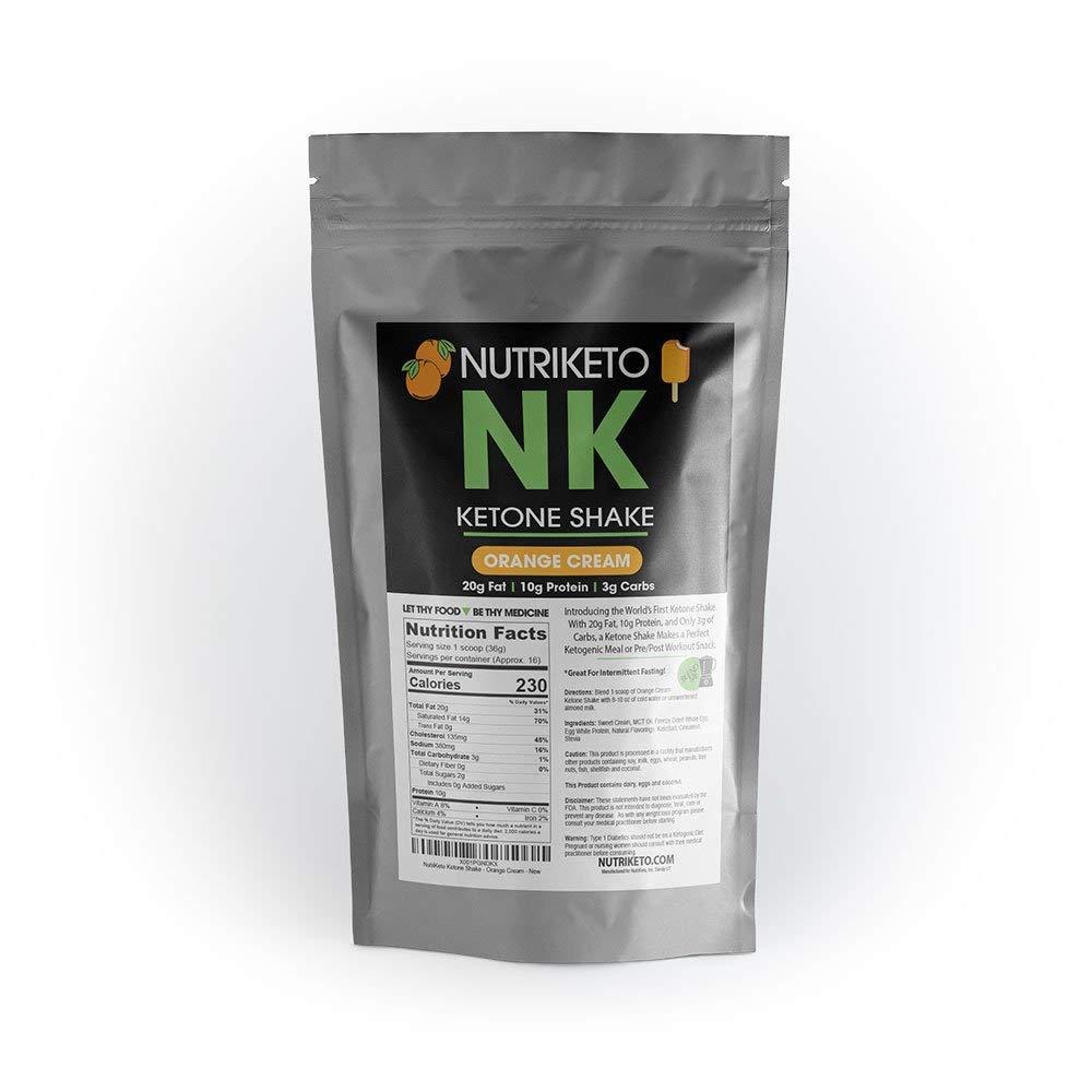 NutriKeto Ketone Shake - Orange Cream - Low Carb/High Fat (LCHF) - Ketogenic Diet - 16 Servings by NutriKeto