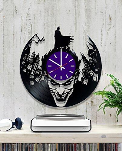 Family Bank Robber Costume - Batman vs Joker Vinyl Record Wall Clock - Contemporary and Creative Kids Room Wall Decor - Modern DC Comics Fan Art - Best Gift Idea For Teens and Kids