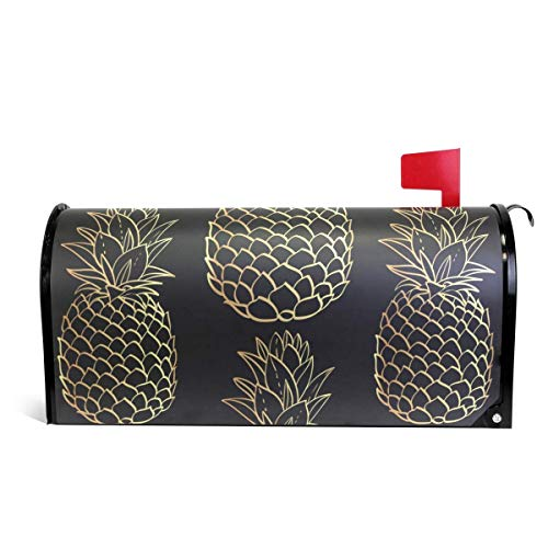CoolMailboxicoveriw Gold Pineapples Magnetic Mailbox Cover Oversized Size 6.5
