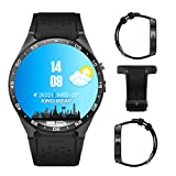 3G Smart Watch, Android 5.1 OS, Quad Core 2.0MP Camera Bluetooth SIM Card WiFi GPS Heart Rate Monitor (Black+Silver)