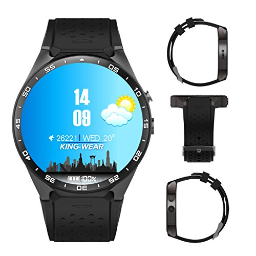 3G Smart Watch, Android 5.1 OS, Quad Core 2.0MP Camera Bluetooth SIM Card WiFi GPS Heart Rate Monitor (Black+Silver) by Kingwear