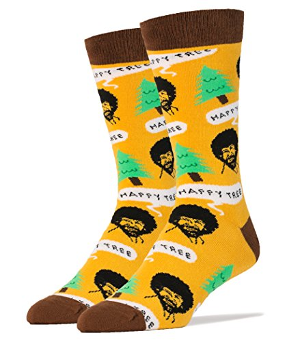 Oooh Yeah Men's Luxury Combed Cotton Crew Socks Bob Ross Happy Tree,Large