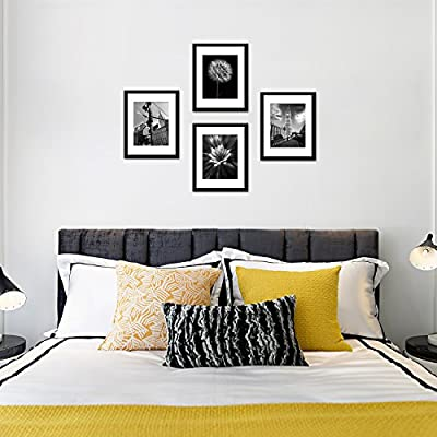 Soonrada 12x16 Picture Frames to Display 11x14 Documents Mats Black Real Wood Photo Frames Wall Art Decorative Hanging Hardware Included