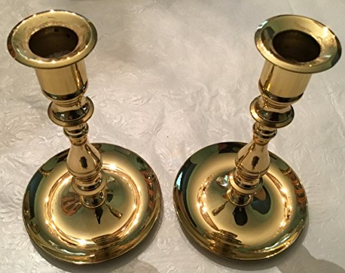 2 Retro Solid Brass Tapered Candlestick Holders 6 1/2 ""