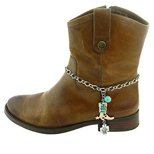 Western Cross Charm and Boot Charm on a Boot Chain