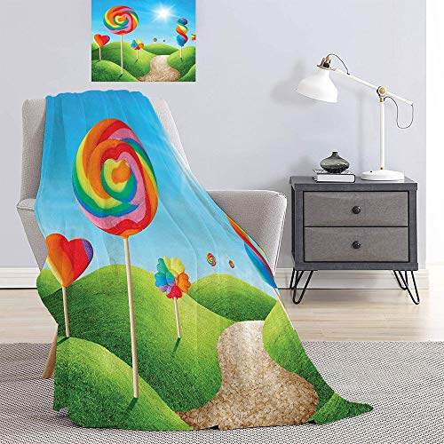 SATVSHOP Digital Printed blanket-60 x36-Lightweight Blanket Oversized.Fantasy House Fantasy Candy Land with Delicious Lollypops Shining Sun Cheering Illustration Green Blue.