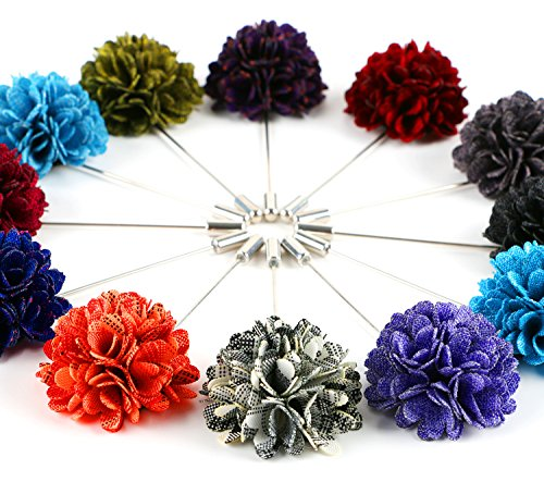 Landisun Men's Lapel Pin Flower Boutonniere Set Handmade For Suits (1 Dozen,Style 33) ()