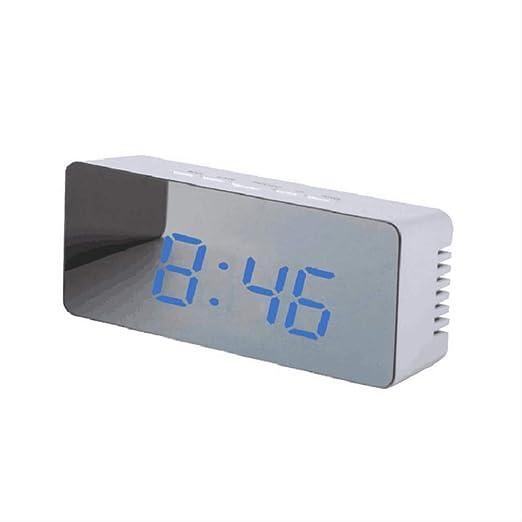 GWRA Reloj electrónico Reloj Despertador con Espejo LED Reloj de ...