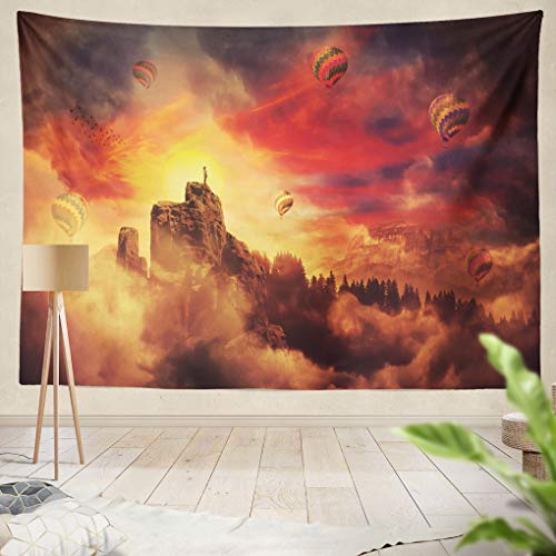 Summor Tapestry Surreal Scenery Silhouette Edge Cliff Beautiful Sunset Hot Air Balloons Flying Up Sky Magic Journey Hanging Tapestries 60 x 80 inch Wall Hanging Decor for Bedroom Livingroom Dorm