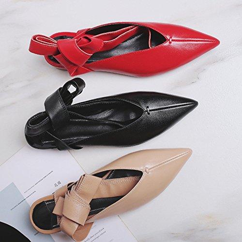 xie Femmes Chaussures Plates Tête Pointue Mode Été Casual Bandages Confortables Asakuchi Sandales apricot KMC9K5