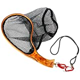 Yoomoo Fly Fishing Landing Trout Net Catch Release Net - Handmade Wooden Frame Soft Rubber Mesh with Strongest Magnetic Release Holder