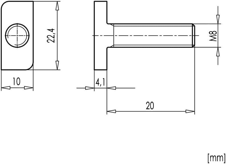 20x Hammerkopfschrauben M8 x 20 Edelstahl A2 Solar Photovoltaik Typ 28//15