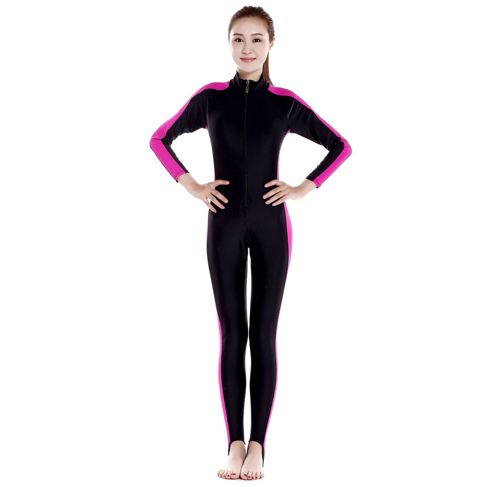 ZEVONDA Men Women Siamese Diving Snorkeling Suit UV Protection Swimming Watersports Full Length Wetsuit, Rose red-Women/L