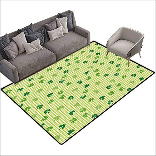 Anti-Slip Outdoor Rugs Irish,Retro Classical Checkered Pattern Decorated with Cute Green Shamrocks Garden Plants,Multicolor 80