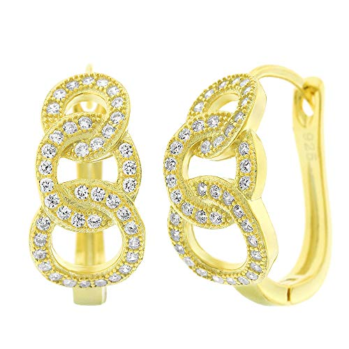 (.925 Sterling Silver Womens Cubic Zirconia CZ Graduated 3 Link Chain Clear Micro Pave Small Leverback Earrings (Yellow))
