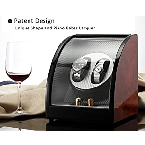 CHIYODA Dual Automatic Watch Winder with Quiet Motors, 12 Setting Rotation Modes – Patent Design