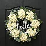 QUNWREATH Handmade Floral 18 inch Beige White Hydrangea Series Wreath,Gifts Package,Spring Wreath for Front Door,Rustic Wreath,Farmhouse Wreath,Grapevine Wreath,Light up Wreath,Everyday Wreath,QUNW64