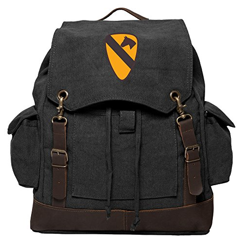 US Army 101st Airborne Division Rucksack Backpack With Leather Straps, Black