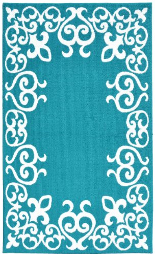 Garland Rug Bordeaux Area Rug, 5 by 7-Feet, Teal/White