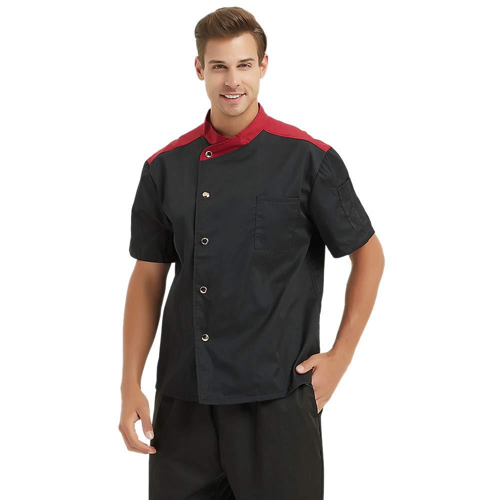 TopTie Black Snap Front Chef Coat CHIX-DK61109