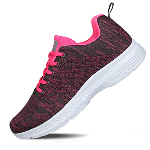 Hawkwell Women's Breathable Lightweight Athletic Running Shoes,Fuchsia Mesh,9 M US