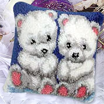 LUBOTS Latch Hook Kits Cushion Cover Rug Making Kits DIY for Kids//Adults with Printed Canvas Pattern 16 X 16 Bear 054