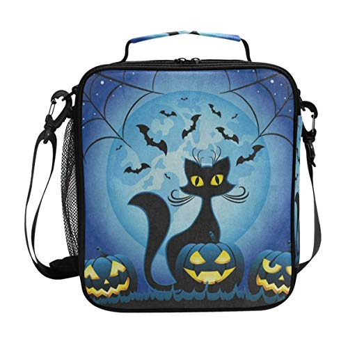 Hipster Cat Full Moon Spider Web Halloween Lunch Bag Womens Insulated Lunch Tote Containers Zipper Square Lunch Box for Kids Men ()