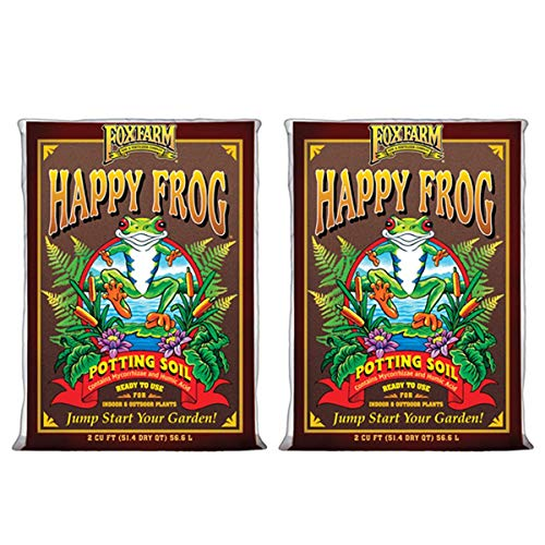Fox Farm FX14047-2PK FOXFARM FX14047 pH Adjusted Happy Frog Organic Bags 2 CUFT, Brown Potting Soil