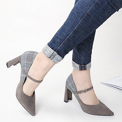Zapatos Una Color de 38 35 zapatos Gris la Sandalias elegante palabra Con gruesos Moda talones 8 correspondencia ante 5cm Boca Hebilla superficial Toda Ajunr de Transpirable AqTvfxZwZ0