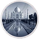 Pixels Round Beach Towel With Tassels featuring ''Reflection Of A Mausoleum On Water, Taj'' by Pixels