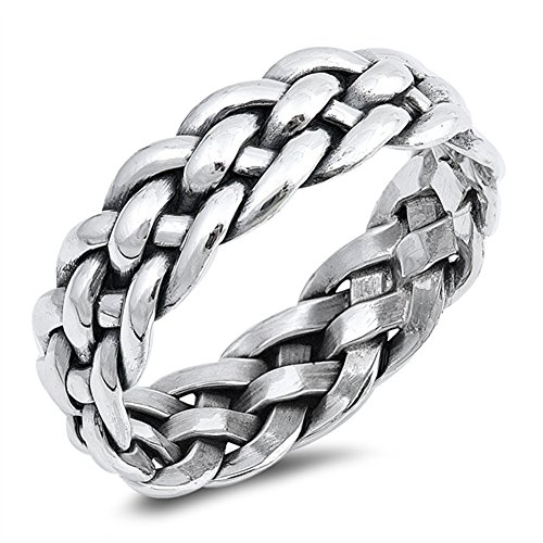 Knot Silver Mesh Sterling - Eternity Mesh Weave Knot Wedding Ring New .925 Sterling Silver Band Size 10