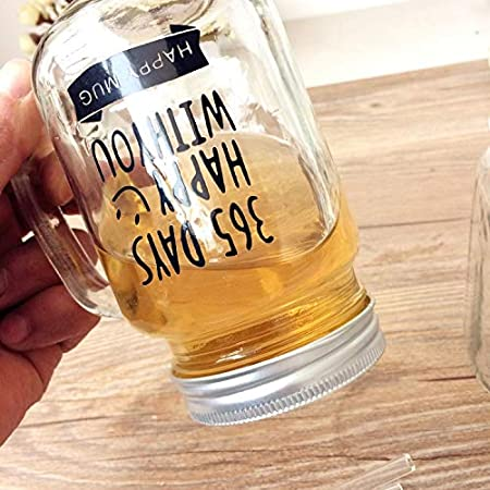 2 Mason Jar Cup Coffee Cup Juice Bottle Couple Classic Thermos Kettle Metal Lid Smoothie Accessories Straws