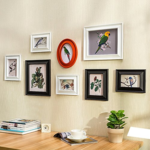 wall photo frames Photo Wall, 8 Frame Retro European And American Wind Photo Wall, Green Frame Wall, Wall Wall Stickers, No Trace Nail Photo Wall by Collage picture frame