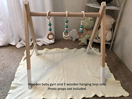 Wooden Foldable Baby Activity Gym Montessori Includes Removable Teether Toys White/Green