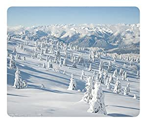 Winter Landscape With Spruce Tree Covered By Snow Mouse Pad - Durable Office Accessory Desktop Laptop MousePad and Gifts Gaming mouse pads