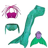 Mayskey Girls Sparkle Mermaid Tail With Monofin Swimmable Tail Swimsuit 4PCS Sets