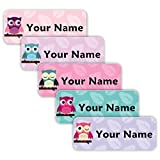40 Original Personalized Waterproof Custom Name Tag Labels (Owls Theme) - Multipurpose Marking for All Ages - Camping Gear, Luggage, Kindergarten