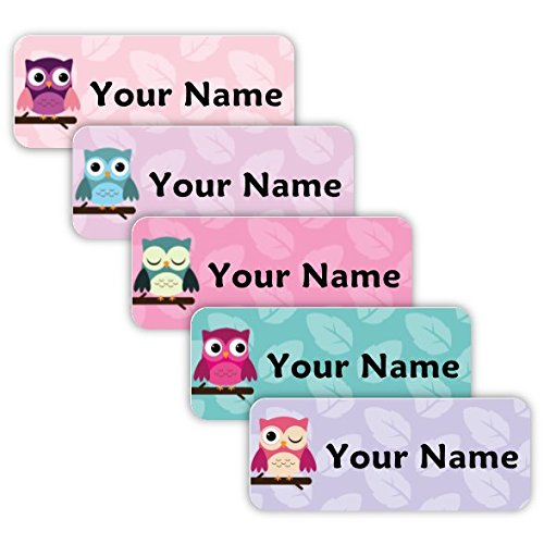 Original Personalized Peel and Stick Waterproof Custom Name Tag Labels for Adults, Kids, Toddlers, and Babies - Use for Office, School, or Daycare (Owls -