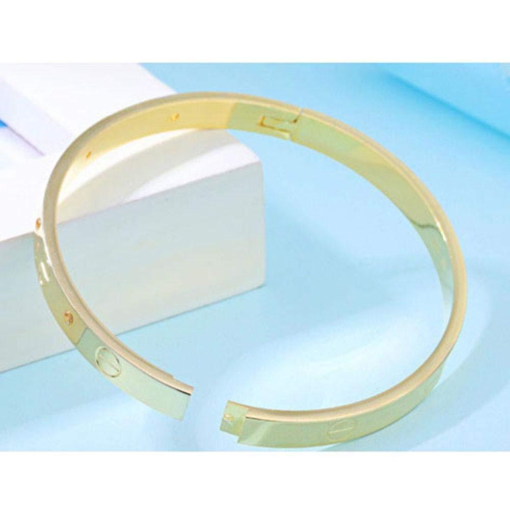 Hearthrousy Korean version of the eternal ring love copper-plated titanium steel bracelets Screw word jewelry bracelets couples hand jewelry open bracelet