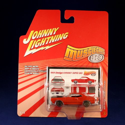 [1969 DODGE CORONET SUPER BEE #2 * RED * Johnny Lightning 2006 MUSCLE CARS 1969 1:64 Scale Die Cast Vehicle] (1969 Dodge Coronet Super Bee)