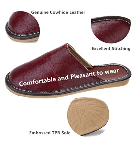 Womens House amp; Flat Toe Shoes For Leather Sandals SAMSAY Unisex Genuine Cowhide Closed Mens Red Slipper wBqq7IxaO
