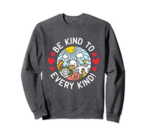 Unisex Vegan Sweatshirt With Farm Animals - Be Kind to Every Kind XL: Dark Heather