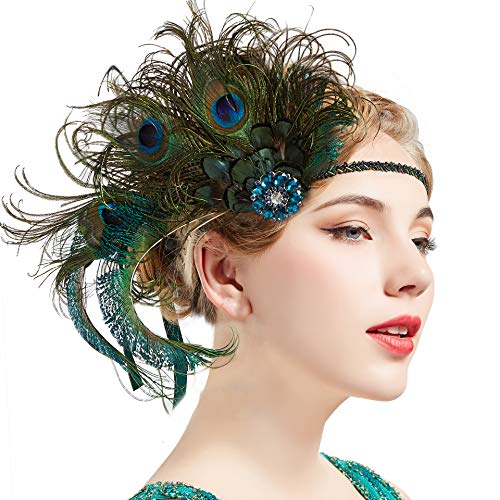 BABEYOND 1920s Flapper Peacock Feather Headband Roaring 20s Beaded Showgirl Headpiece 1920s Great Gatsby Costume Hair Accessories (Blue & Green)]()