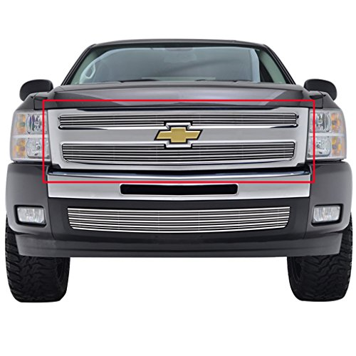 E-Autogrilles Aluminum Polished 3D (4mm+8mm) Horizontal Overlay Billet Grille Grill Insert for 07-13 Chevy Silverado 1500 (2PCS) (36-4102) (Billet Silverado Insert Grille)